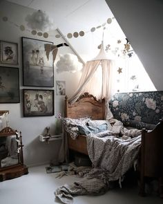 kid's room with Mrs Mighetto posters Scandinavian Kids Rooms, Creative Kids Rooms, Tiny Living Rooms, Little Girl Rooms, Bed Styling, Kids Bedroom, Room Kids, Kidsroom, Kid Beds
