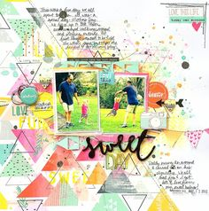 My Scraps & More DT Project - Mix it Up Monday Challenge - create a diagonal design, diagonal journaling and triangles - Pinkfresh Studio Happy Things collection and Evalicious