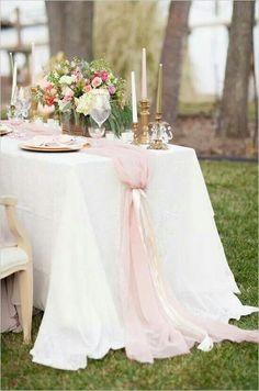 blush pink wedding chiffon table - Google Search