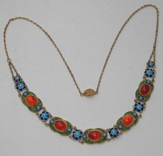 ANTIQUE CHINESE SILVER goldplated ENAMEL CARNELIAN Necklace wunderful RARE in Jewelry & Watches, Vintage & Antique Jewelry, Fine, Victorian, Edwardian 1837-1910, Necklaces & Pendants | eBay