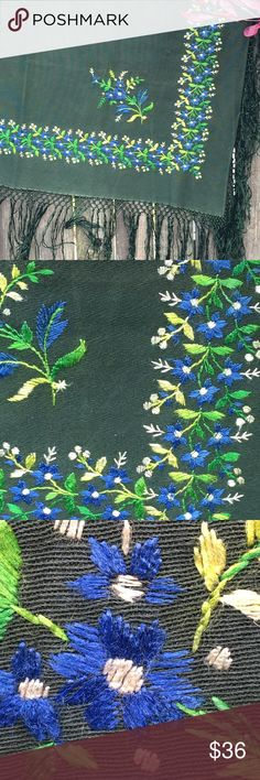 """SHAWL! Vintage Hand-Embroidered, Essen, Germany This is a vintage embroidered shawl typical of its region, the Essen/Ruhr region of Germany. No holes or fraying; some minor fading along the horizontal fold line. Dark green. No tags. Probably a wool/linen/cotton blend; definitely a natural textile. Forest green. Beautiful hand embroidery in floral designs. 36 1/2 in. x 36 1/2 in. plus hand-knotted 6"""" fringe all around the edges. Accessories Scarves & Wraps"""