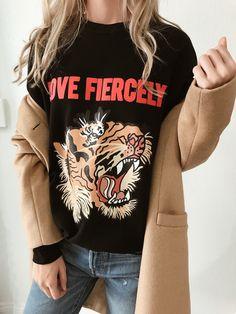 Love Fiercely- Tiger Sweatshirt - EllandEmm