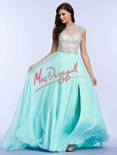 Aqua Blue Prom Dress   Vintage Gown   Mac Duggal 82231M