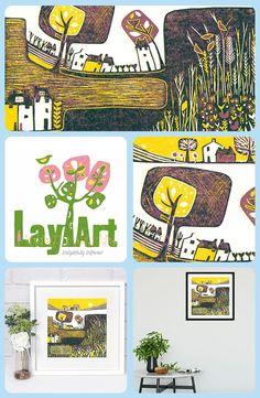Original Lino Print, Linocut Wall Art Print in Limited Edition, Linocut Print for Framing Yellow, Square Gallery wall Art Print, Printmaking Linocut Prints, Giclee Print, Inuit Art, Linoprint, Bedroom Art, Living Room Art, Landscape Art, Printmaking, Wall Art Prints