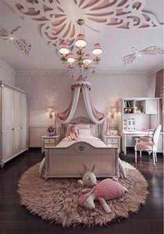 Feminine bedroom interior design for little girl's bedroom #design