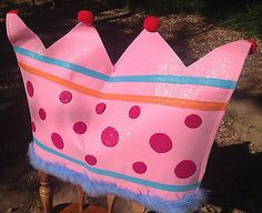 Princess Happy Birthday BLUE Crown & PINK Chair Cover, 2 Piece Set