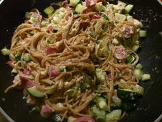 My take on spaghetti carbonara - zucchini and spring onions added to the original recipe.