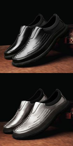 >> Click to Buy << Prelesty Vintage Chic Style Men's Genuine Leather Shoes Zapatos de hombre Soft Man Slip On Shoes Handsome Black Silver