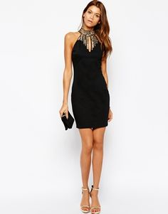 TFNC Body-Conscious Dress With High Neck Embellishment