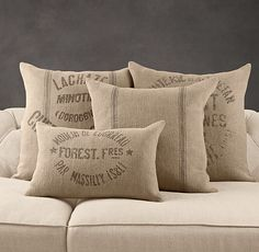 Restoration Hardware's Vintage French Grain-Sack Linen Pillow Covers:For generations, these logos adorned cloth sacks used to carry French grains and flours. Today, they make a vintage impression on our herringbone-woven linen pillow covers. Burlap Sacks, Burlap Pillows, Decorative Pillows, Bed Pillows, Bed Linens, Primitive Pillows, Hessian, Lego Sack, Coffee Sacks