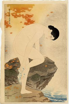 A woodblock print by Ito Shinsui, Fragrance of the Hot Springs, at Scholten Japanese Art. Japanese Art Prints, Japanese Painting, Japanese Artwork, Japanese Woodcut, Art Asiatique, Kunst Poster, Japan Art, Gravure, Print Artist