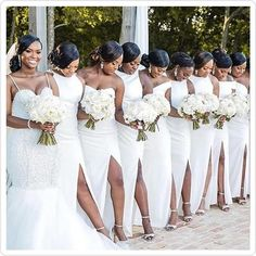What do you think of this all-white wedding trend? with ・・・ We love an all white bridal party 💞💞💞 Beautifully captured by . All White Wedding, White Bridal, Red Wedding, Summer Wedding, Wedding Dresses Plus Size, Dream Wedding Dresses, Wedding Poses, Wedding Bride, Bride Groom