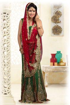 USD 276.22 Green Net Stone Work Bridal Lehenga Saree   34031
