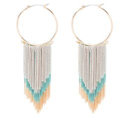 Color Fringe Hoop Earrings (1.875 RUB) ❤ liked on Polyvore featuring jewelry, earrings, fringe jewelry, bebe, fringe earrings, earring jewelry and bebe earrings