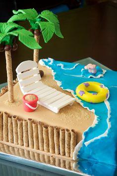 Beach Cake — Seashells /Ocean/Beach Props on the palm trees, those are B to m… - Cake Decorating Blue Ideen Beach Themed Cakes, Beach Cakes, Theme Cakes, Fancy Cakes, Cute Cakes, Beautiful Cakes, Amazing Cakes, Fondant Cakes, Cupcake Cakes