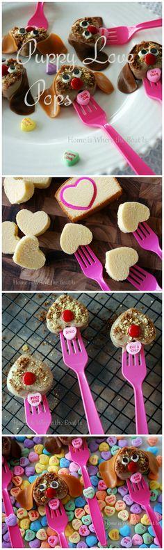 Puppy Love Pops! A fun cake pop for Valentine's Day using frozen pound cake! #valentinesday #cakepop #conversationhearts