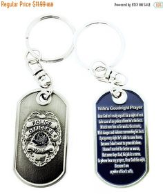 On Sale Police Officer's Wife Prayer Brushed Steel Keychain Blue Rose  Product Code: KC151 (10.79 USD) by RescueTees