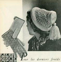 Vintage Magazines, Vintage Hats, Mode Crochet, Big Shoulders, Vintage Winter, Ski Fashion, Vintage Knitting, 1940s, Knits