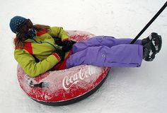 Bundled up for tubing in the snow at Winter Park Resort.