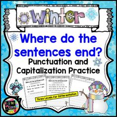 Provide your K-2 students with reading, writing, capitalization, and punctuation practice with these NO PREP differentiated (three levels) editing sheets. Each page has two, three, or four sentences with missing capitals (beginning of a sentence, proper