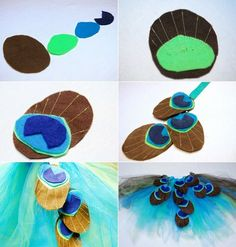 Make peacock costume yourself - 20 ideas for carnival and Halloween: peacock feather . - Make your own peacock costume - 20 ideas for Mardi Gras and Halloween: Sewing peacock feathers out of felt # costume # yourself Tulle Costumes, Diy Costumes, Halloween Costumes, Halloween Sewing, Balloon Lanterns, Peacock Baby, Carnival Dress, Peacock Costume, Kids Dress Up