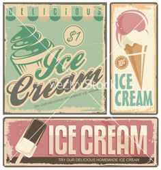 retro Ice cream sign vector  by Lukeruk on VectorStock®