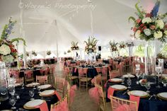 Tent setup in coral and blue
