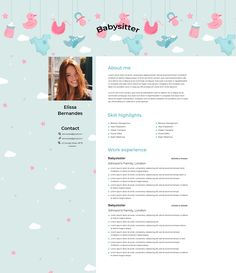 Great Resumes, Resume Examples, Cover Letter Template, Letter Templates, Resume Design Template, Resume Templates, Babysitter Resume, Resume Objective, Resume Skills