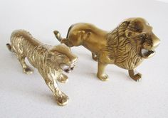 Lion and Tiger Cat Lovers Vintage Brass Statues by nowheretoland