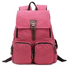 Hotoop Unisex Wide Padded Straps Canvas Backpack Rose red   For more  information b14e83b55052e