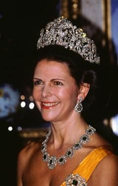 Braganza tiara and Emerald and diamond necklace on Queen Silvia of Sweden