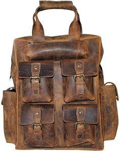 In Vintage Handmade Genuine Leather Mens Backpack Brown Leather Computer Bag Male Leisure Travel 15 Inch Laptop Backpacks Fragrant Flavor
