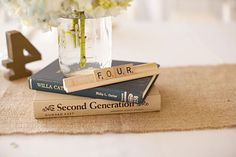 Book & Scrabble centerpiece? Excellent.
