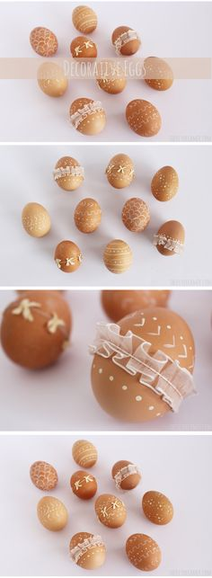 Decorative Eggs - Trendy Easter Eggs decorated with paint and ribbon - #Easter #EasterEggs #EasterCrafts