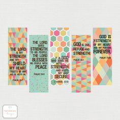 Colorful Strength Inspirational Printable Bookmarks   Teacher Printable   Student Gift   Gift For Reader   Psalm Bible verse printable   HarvestJoyDesigns