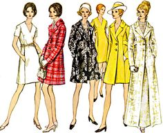 60s Mod One Piece Dress and Coat, Princess Seams, Length Options, Size 10, Bust 32.5, Vogue Sewing Pattern 2256 by TheGrannySquared on Etsy