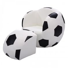 Football Shape Kids Sofa Chair Couch Children Toddler Armchair w/ Ottoman for sale online Couch With Ottoman, Black Ottoman, Black Sofa, Kids Sofa Chair, Kids Armchair, Couch Sofa, Diy Couch, Toddler Armchair, Ottoman Furniture