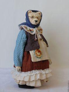 Купить Бабушка - мишка, тедди, деревня мишкино, винтаж, коллекционные медведи, ручная вышивка, коричневый