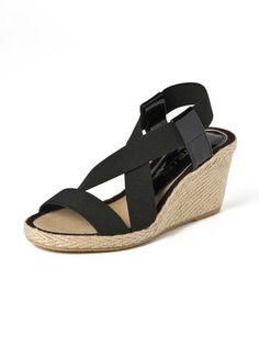 CASTELLER - Elastic × jute strap wedge sandals
