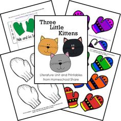 Three Little Kittens Preschool Unit Activities: match mittens, wash mittens, sing the nursery rhyme, bake pie, and learn the letter 'K' -- from Homeschool Share
