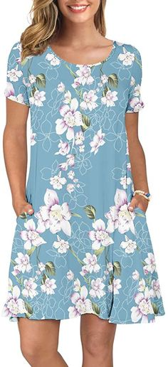 KORSIS Women's Summer Casual T Shirt Dresses Short Sleeve Swing Dress Pockets at Women's Clothing store Womens Wear. The casual dress is above the knees and long enough that you wouldn't need to wear leggings with it if you didn't want too. Spring Dresses Casual, Dresses Short, Simple Dresses, Nice Dresses, Summer Dresses, Floral Dresses, Summer Outfits, Girl Outfits, Romantic Dresses