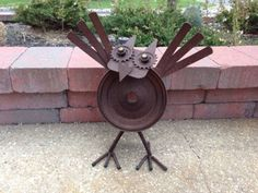 Metal Yard Art Large Rustic Owl Garden 3d Figure Lawn Sculpture Outdoor Decor