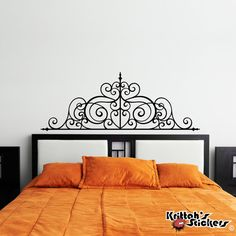 Wrought Iron Headboard Vinyl Wall Decal Design fits above