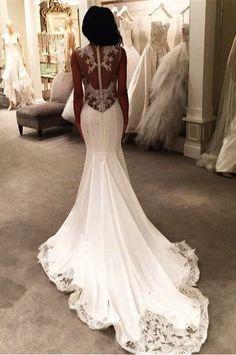 gorgeous lace appliques mermaid wedding dress button back - Products - 27DRESS.COM