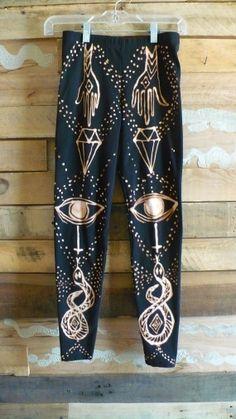 All Seeing Eye Leggings Bleach Black Cotton by dauphineandlesseps