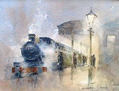 last train. Watercolor Landscape, Watercolor Paintings, Watercolour, Beautiful Paintings, Beautiful Landscapes, Train Art, Belle Photo, Gallery, Illustration