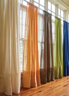 """84"""" Single sheer window panels available in these fashion colors allow light to enter the room from Country Porch Home Decor. Matching valances and new indoor/outdoor rugs are also available."""