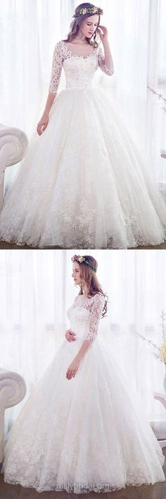 Trendy Ball Gown Wedding Dresses, Scoop Neck Lace Wedding Dresses, Tulle Long Wedding Dresses, 3/4 Sleeve Bridal Dresses