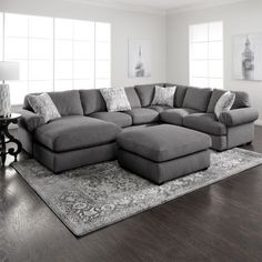 Simple yet stylish, the Jameson grey sectional is an excellent choice for your living room. The casual sectional offers generous and comfortable seating with pocketed springs, Jerome's-gel Living Room Sectional, Living Room Grey, Living Room Interior, Home Living Room, Living Room Designs, Living Room Decor, Grey Living Room Furniture, Rustic Furniture, Antique Furniture