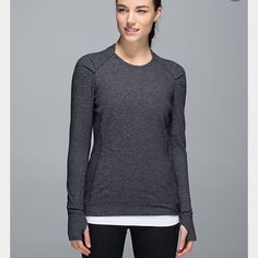 NWT Lululemon Think Fast Long Sleeve NWT Lululemon Think Fast Long Sleeve Shirt in Heathered Herringbone size 2 Sold out online and in stores! lululemon athletica Tops